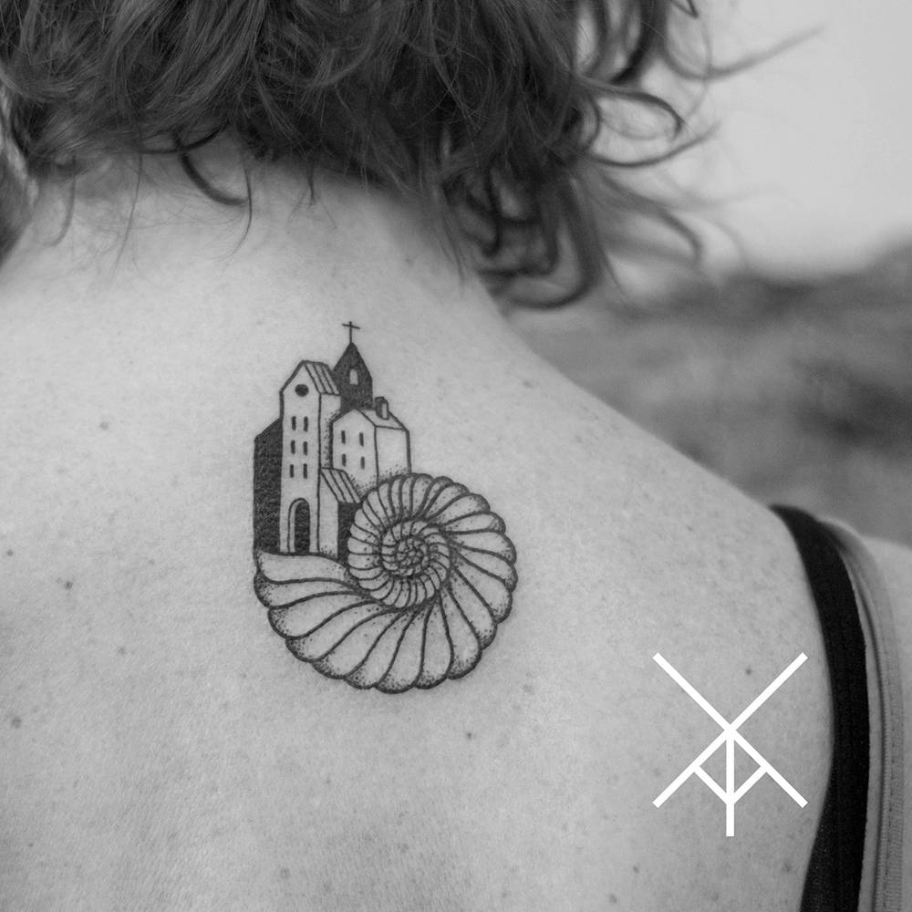 Stylish Church On Snail Shell Tattoo On Upper Back