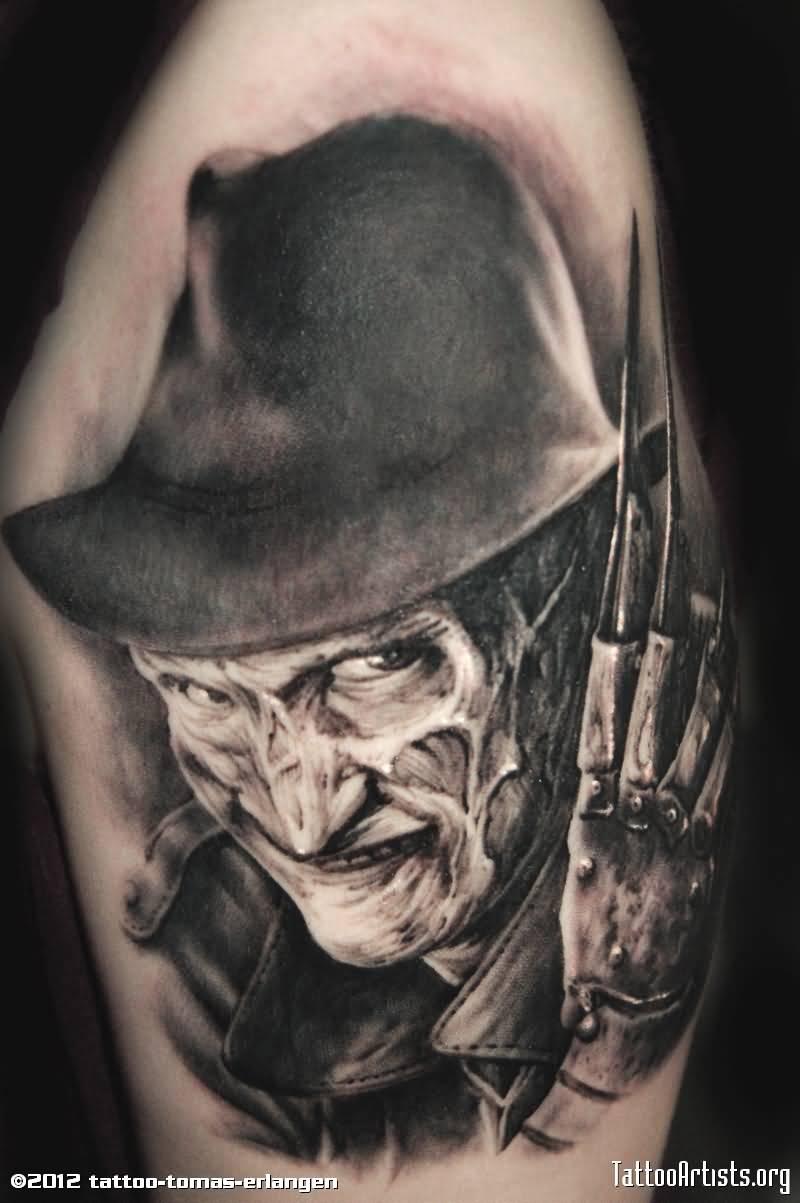 cc7680ef3 Superb Black And Grey Freddy Krueger Portrait Tattoo