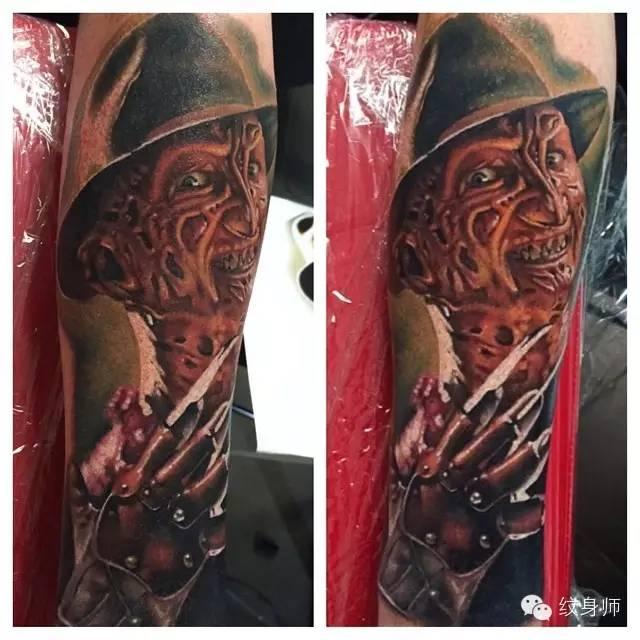 c6f134b8d Terrific 3D Freddy Krueger Portrait Color Ink Tattoo