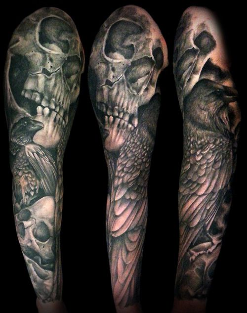 Terrific Black And Grey Evil Skulls With Wings Tattoo By Ashley Right