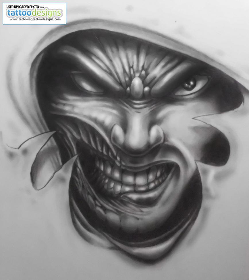 3d tattoo designs - Terrific Black And White Evil 3d Tattoo Design