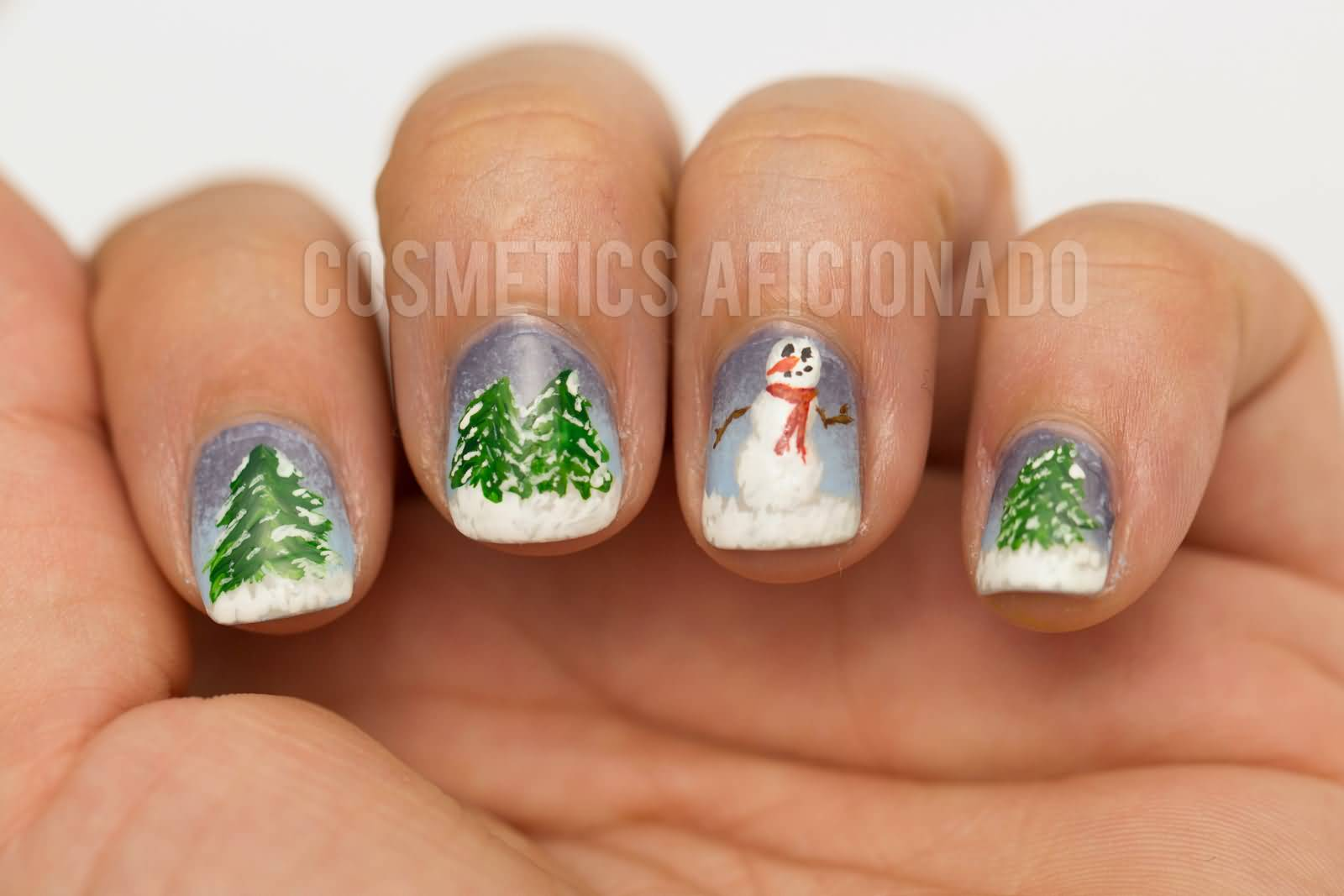 Trees And Snowman Winter Nail Art