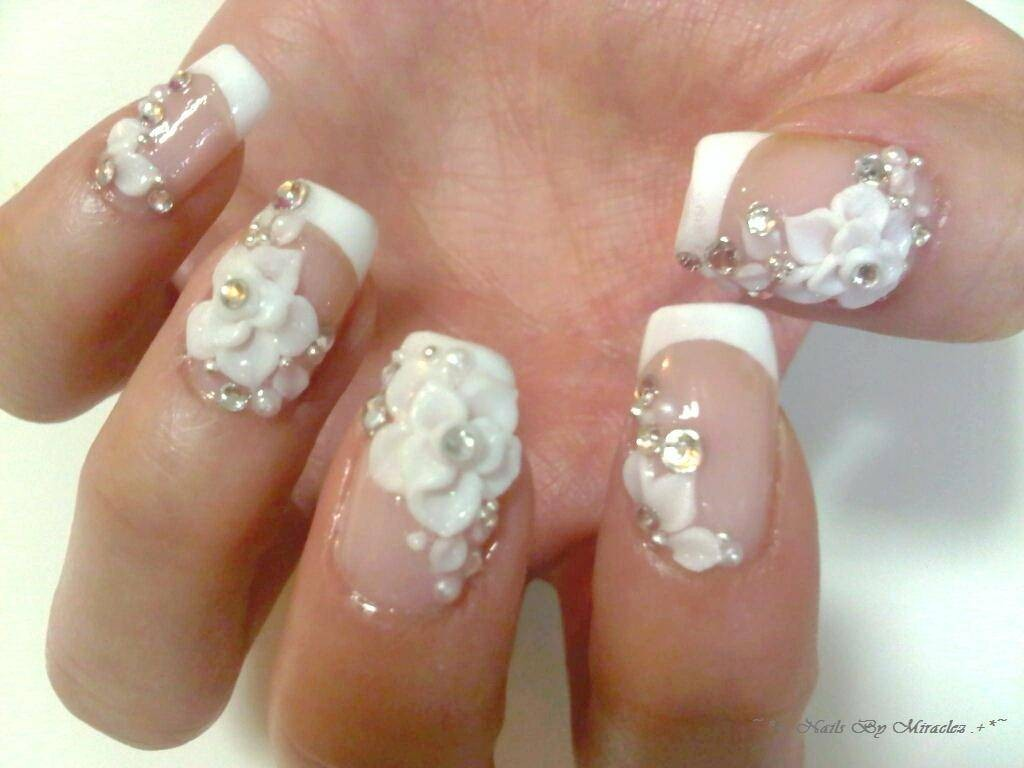 50 amazing 3d nail art design ideas white 3d flowers nail art with tip design idea prinsesfo Gallery