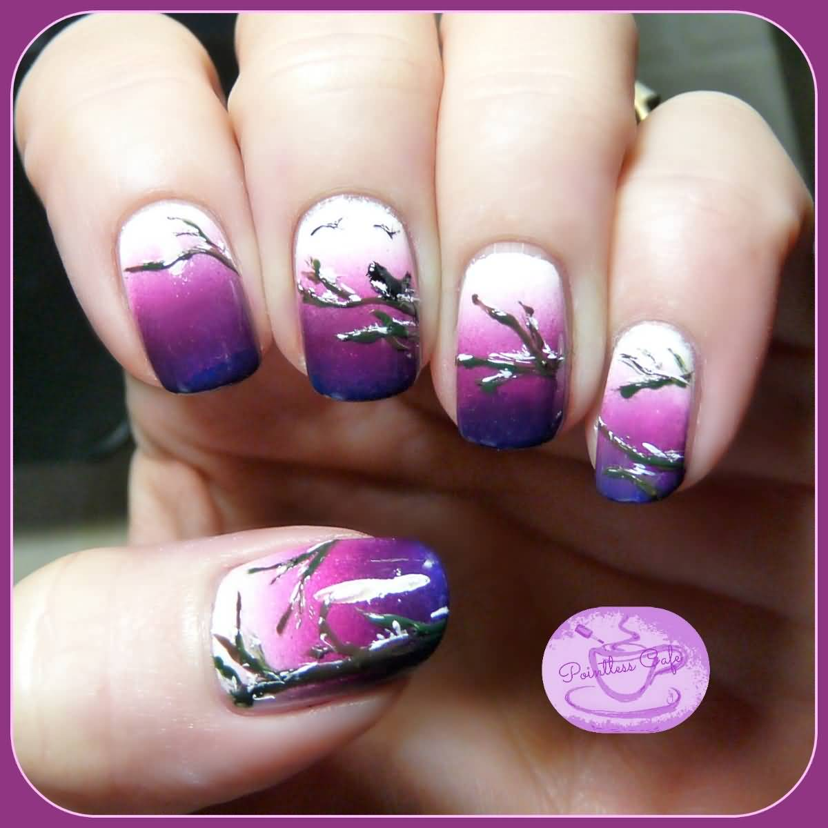 White And Purple Ombre With Winter Trees Winter Nail Art Design