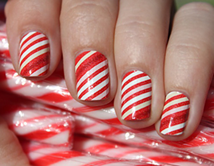 White And Red Candy Canes Winter Nail Art