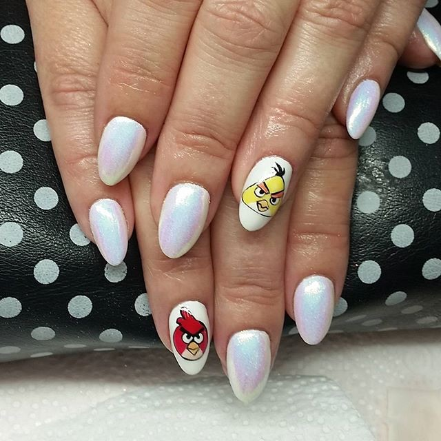 White Nails With Angry Birds Nail Art