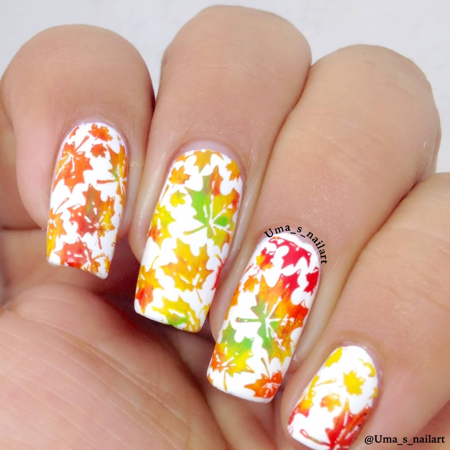 Thatleanne Firey Autumn Leaves Nail Art: 50+ Most Beautiful Autumn Nail Art Designs