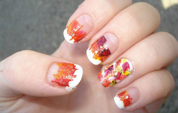 White Tip Nails With Fall Leaves Autumn Nail Art - 50 Best Nail Art Design Ideas For Autumn