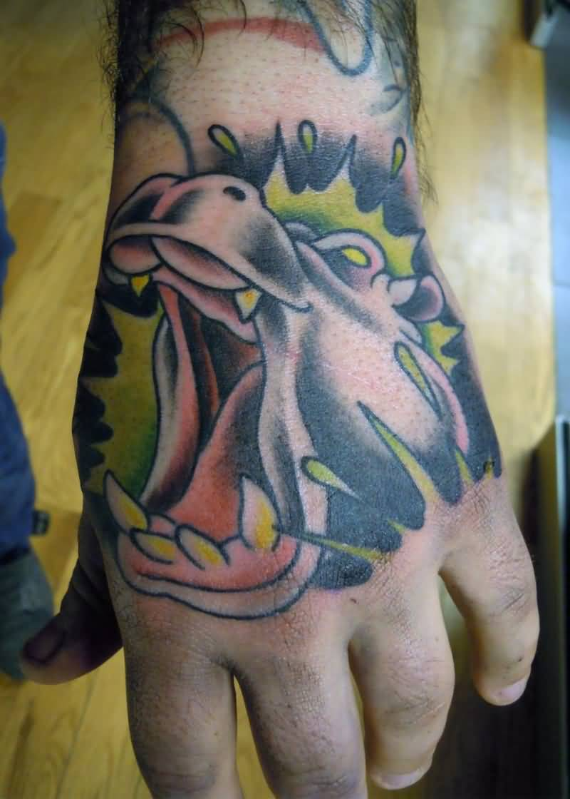 Nice Hippo Giving Flower To Giraffe Traditional Tattoo By