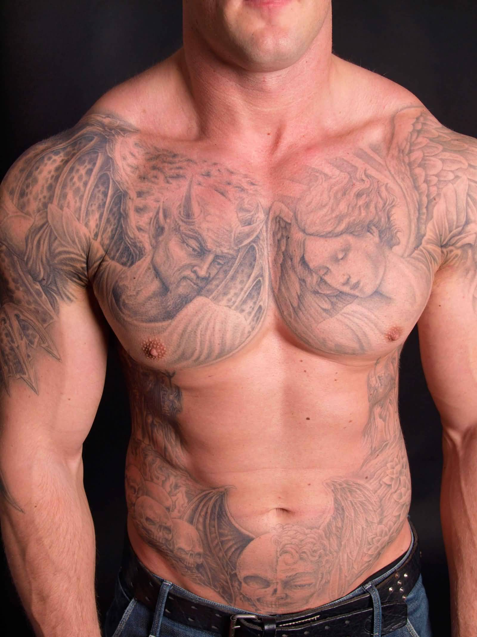 c7ad6633c Wonderful Grey Good Vs Evil Tattoo On Chest And Shoulders