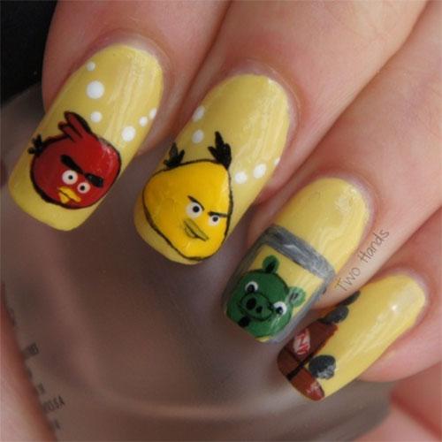 51+ Latest Angry Birds Nail Art Design Ideas