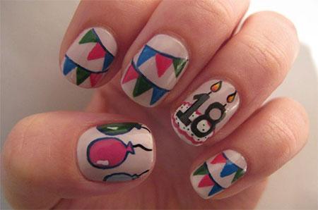 18th Birthday Nail Art Design Idea - 50 Best Birthday Nail Art Designs