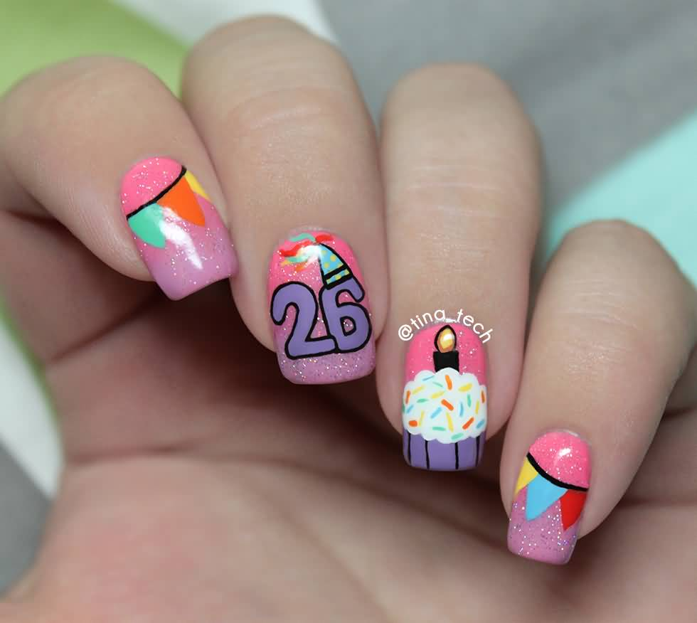 Beautiful Birthday Cake Nail Art