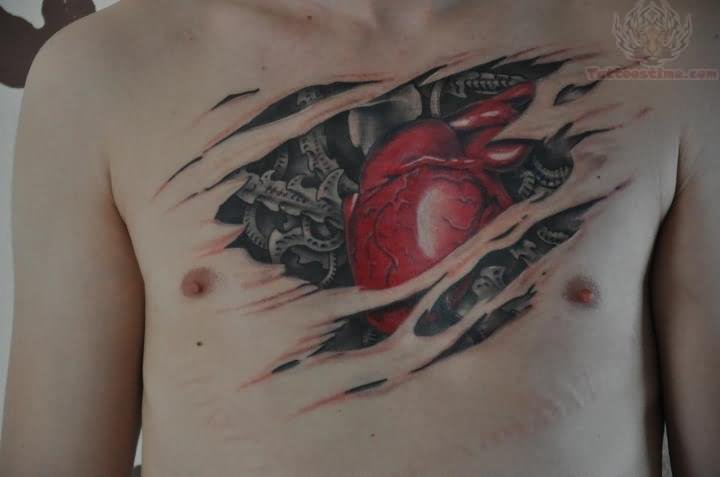 biomechanical heart tattoo - photo #9