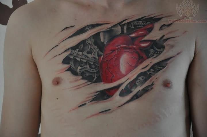 28 Mechanical Heart Tattoos