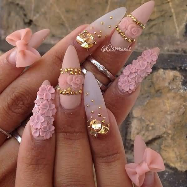 60 most stylish 3d nail art ideas for trendy girls 3d bow and flowers stiletto nail art prinsesfo Image collections