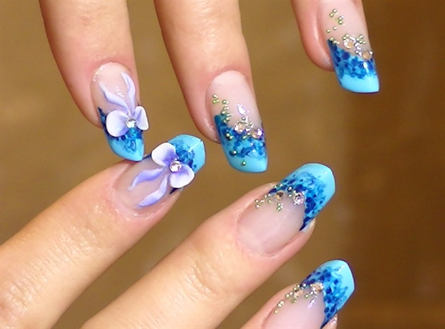 50 most beautiful blue nail art design ideas 3d bows with blue tip design idea prinsesfo Image collections