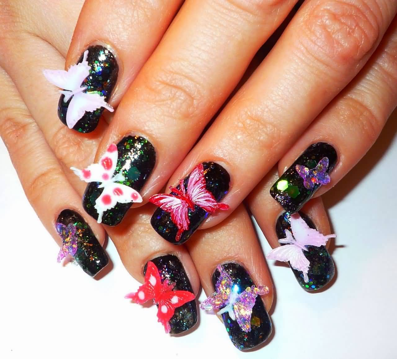 70 most beautiful 3d nail art design ideas for trendy girls 3d butterflies nail art design idea prinsesfo Images