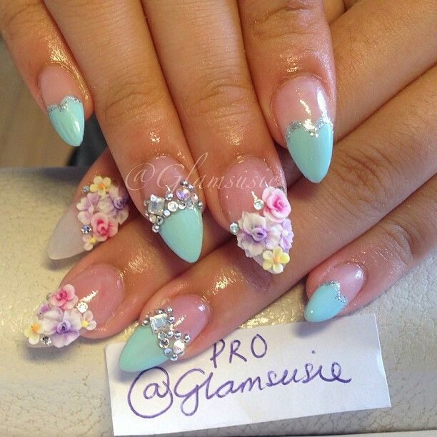 Colorful Flowers Nail Art