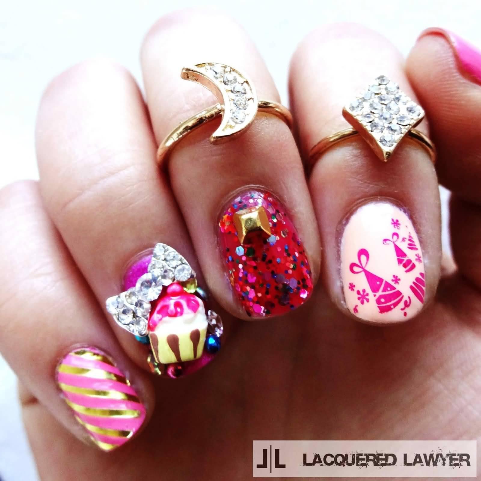57 Most Beautiful Glitter Nail Art Design Ideas: 40 Most Beautiful Birthday Nail Art Design Ideas
