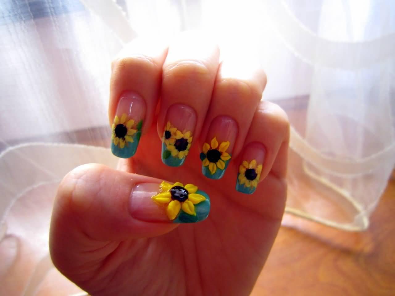 - 3D Sunflower Nail Art Design