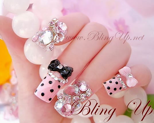 3d Black Bow And Bling Nail Art - 70+ Most Beautiful 3D Nail Art Design Ideas For Trendy Girls