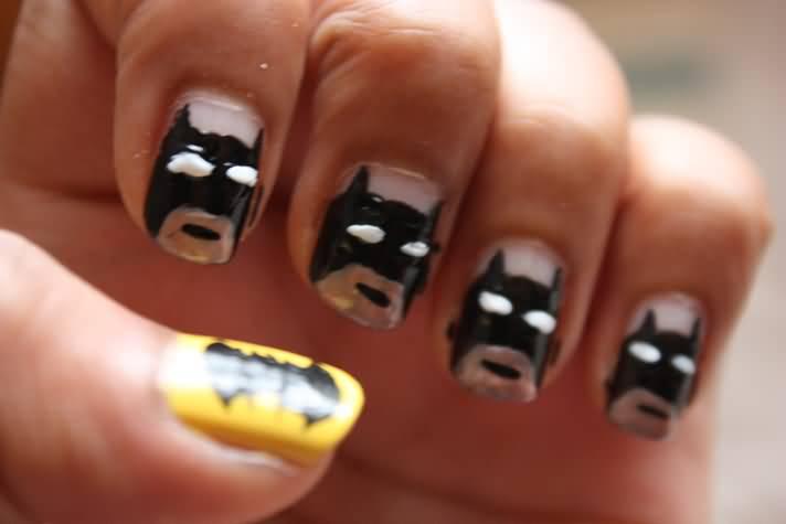 35 latest cartoon nail art designs acrylic batman mask cartoon nail art prinsesfo Image collections
