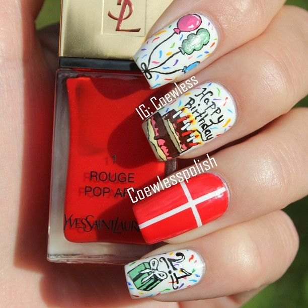 Adorable Birthday Nail Art Design Idea