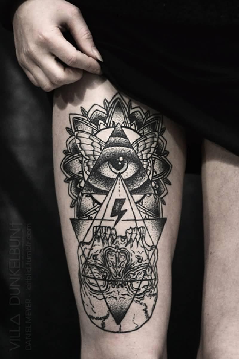 28 Incredible Triangle Eye Tattoos