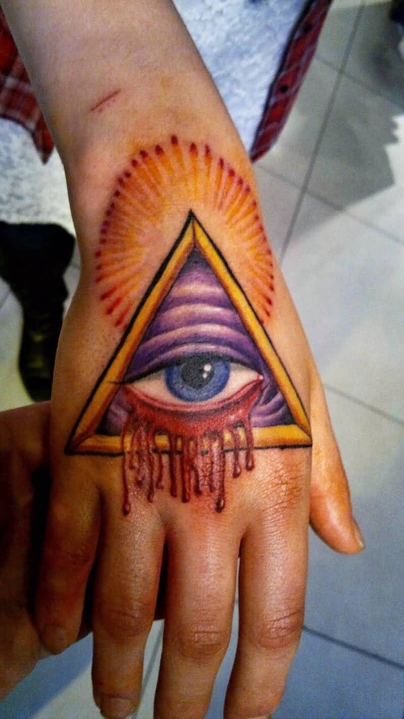 Attractive 3d triangle eye tattoo on hand for Eye finger tattoo