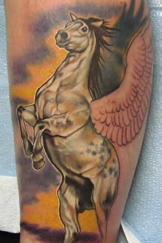 50 latest pegasus tattoos for Horse jumping tattoos