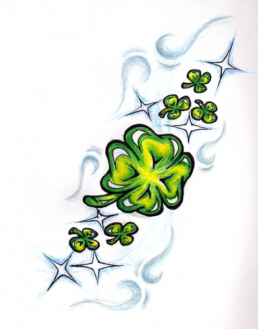 wonderful shamrock leaf tattoo design by flaka70