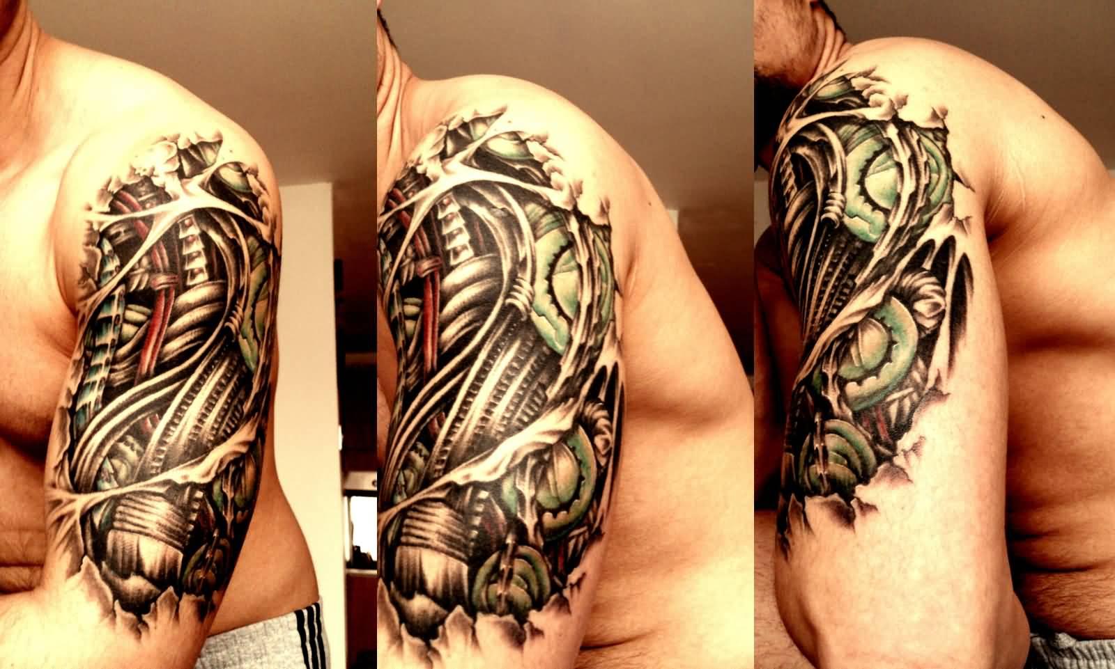 Tattoo gear tattoo sleeve mechanic tattoo mechanical tattoo gears - Awesome 3d Biomechanical Tattoo On Left Half Sleeve