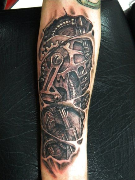 Mechanical Gear Arm Tattoo