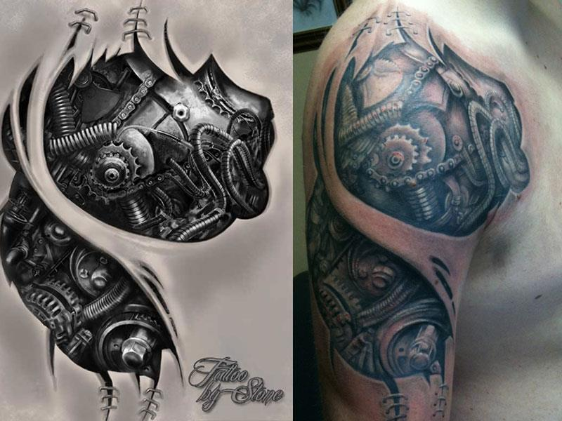 606f970d3b1b0 Awesome 3D Mechanical Heart Tattoo On Right Shoulder