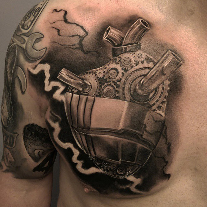 28 Mechanical Heart Tattoos