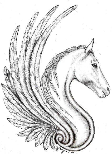lovely tribal pegasus tattoo design