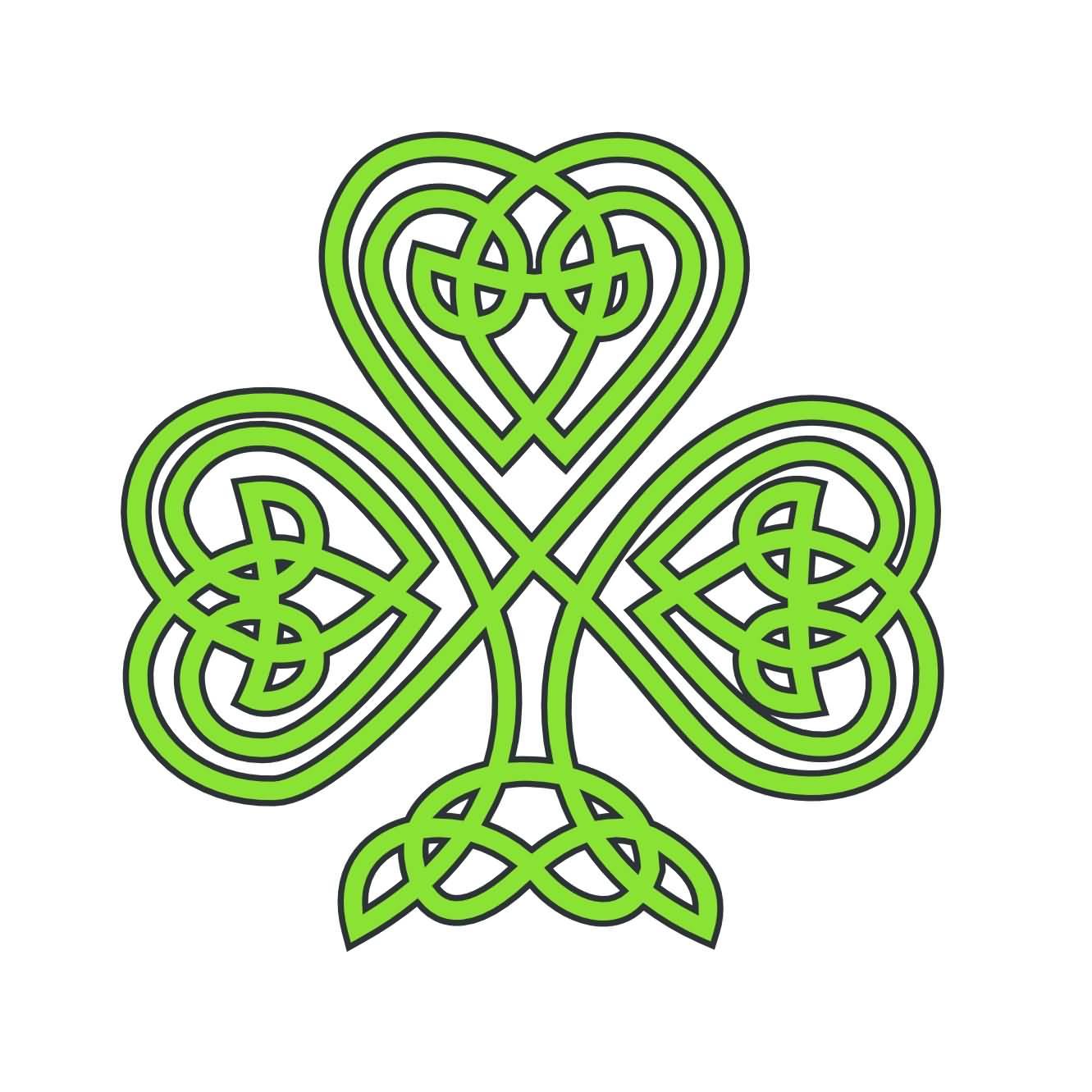 awesome celtic shamrock leaf tattoo design