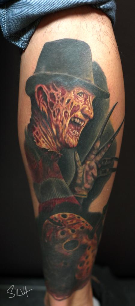 awesome freddy and jason mask tattoo. Black Bedroom Furniture Sets. Home Design Ideas