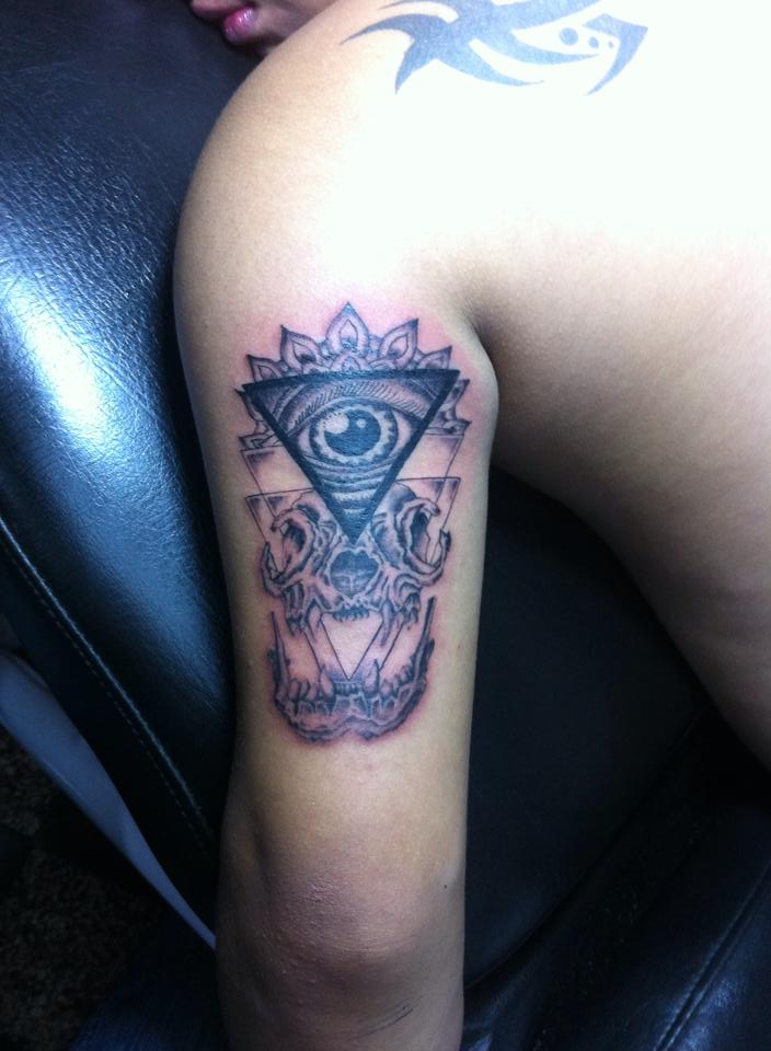 1d8405049 Awesome Grey Triangle Eye With Skull Tattoo On Half Sleeve By MarioHiga