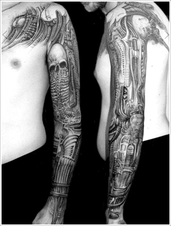 d1b1a3783 Awesome Skull Mechanical Tattoo On Full Sleeve