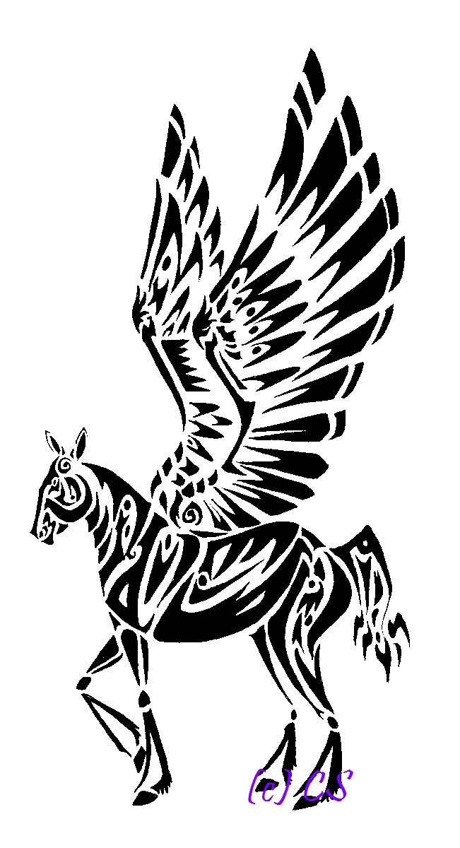 lovely tribal pegasus tattoo design. Black Bedroom Furniture Sets. Home Design Ideas