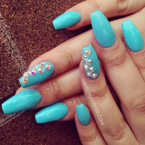 Baby Blue Nails With Rhinestones Design Idea