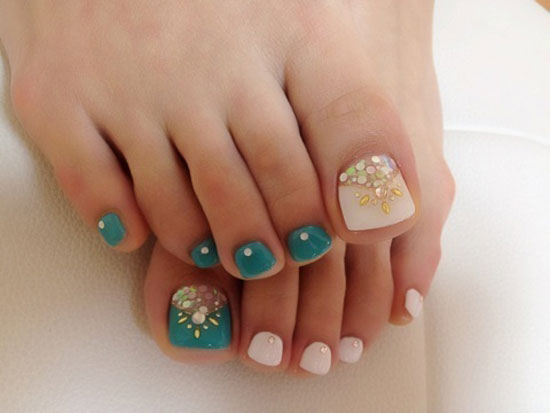 Baby Pink And Green Glitter Toe Nail Art