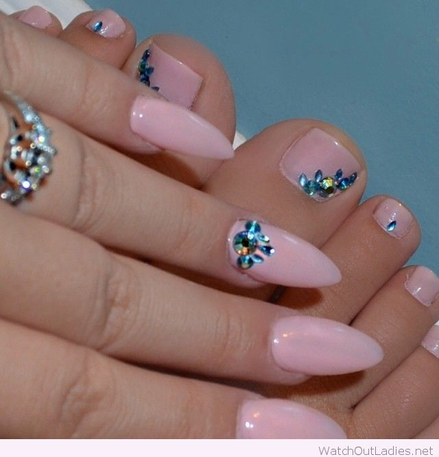 Baby Pink Stiletto Nails With Blue Rhinestones Design