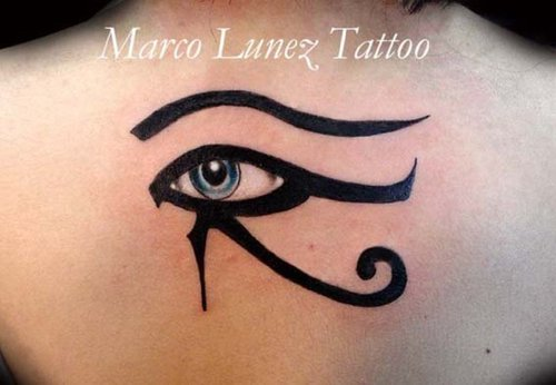beautiful horus eye tattoo on upper back. Black Bedroom Furniture Sets. Home Design Ideas
