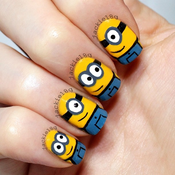 Beautiful Minions Cartoon Nail Art - 60+ Most Beautiful Cartoon Nail Art Design Ideas