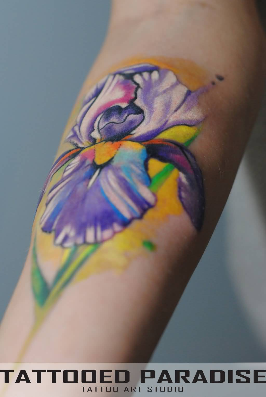 40 wonderful iris flower tattoos beautiful purple iris flower tattoo izmirmasajfo Images