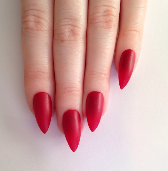 Beautiful Red Stiletto Nail Art