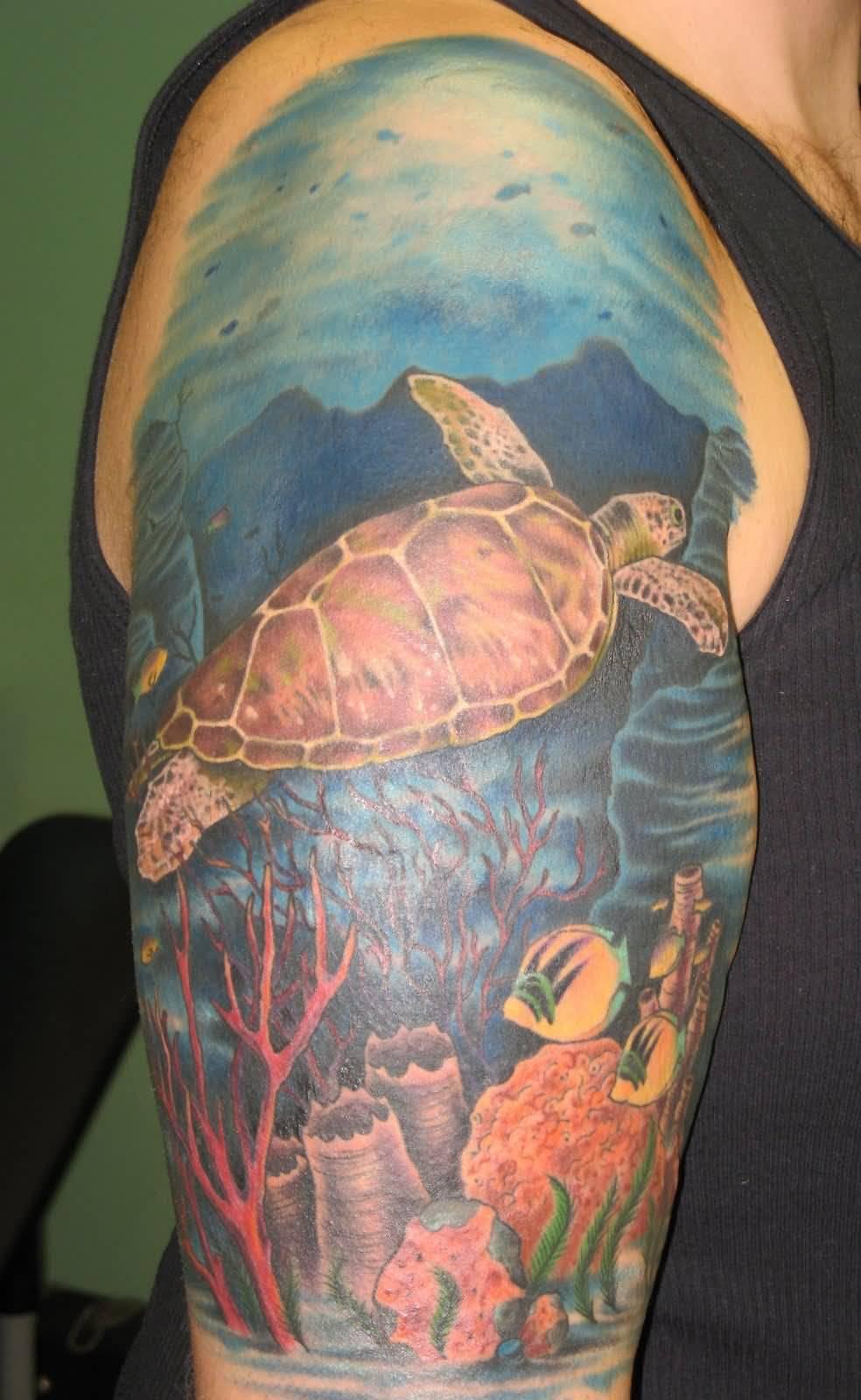 beautiful sea creatures deep sea view tattoo on right half sleeve. Black Bedroom Furniture Sets. Home Design Ideas